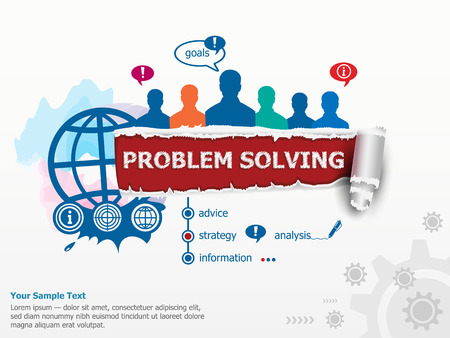 Problem-solving concept and group of people. Set of flat design illustration concepts for business, consulting, finance, management, career, human resources.