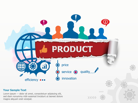 Product concept and group of people. Set of flat design illustration concepts for business, consulting, finance, management, career, human resources.