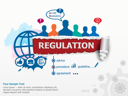 Regulation concept and group of people. Set of flat design illustration concepts for business, consulting, finance, management, career, human resources.