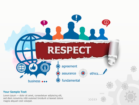 respectable: Respect concept and group of people. Set of flat design illustration concepts for business, consulting, finance, management, career, human resources. Illustration