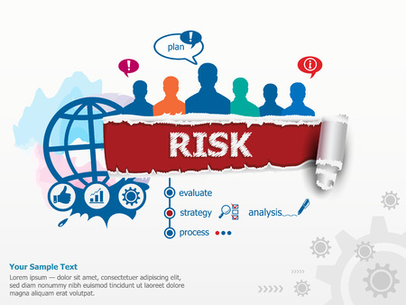 Risk concept and group of people. Set of flat design illustration concepts for business, consulting, finance, management, career, human resources.