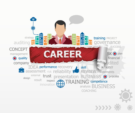 Career word cloud concept and business man. Career design illustration concepts for business, consulting, finance, management, career.