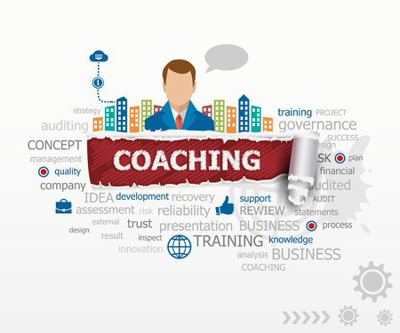 Coaching word cloud concept and business man. Coaching design illustration concepts for business, consulting, finance, management, career.