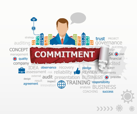 commitment: Commitment word cloud concept and business man. Commitment design illustration concepts for business, consulting, finance, management, career. Illustration