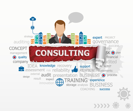 financial consultant: Consulting word cloud concept and business man. Consulting design illustration concepts for business, consulting, finance, management, career.
