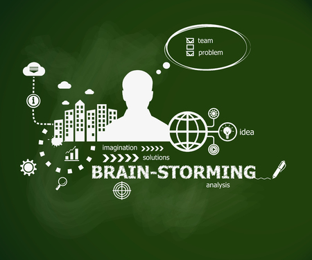 Brain-storming concept and man. Hand writing Brain-storming with chalk on green school board. Typographic poster.