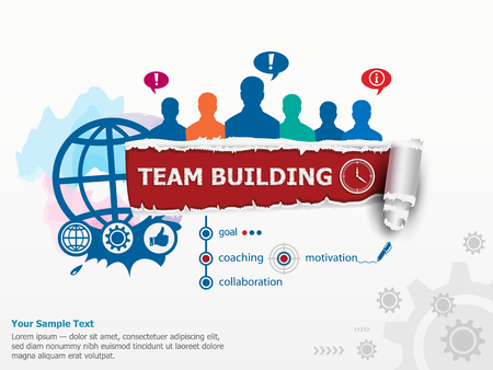 Team Building Graph concept and group of people. Set of flat design illustration concepts for business, consulting, finance, management, career, human resources.