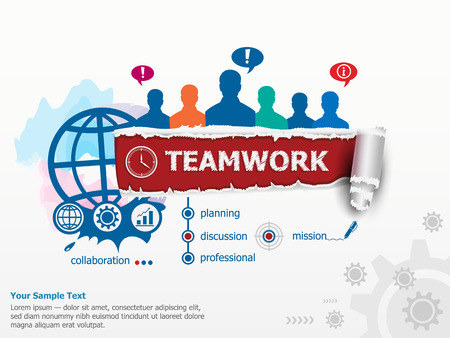 Teamwork concept  and group of people. Set of flat design illustration concepts for business, consulting, finance, management, career, human resources.