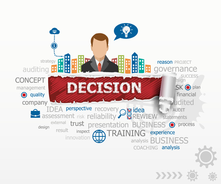 Decision design illustration concepts and business man. Decision design illustration concepts for business, consulting, finance, management, career. Иллюстрация