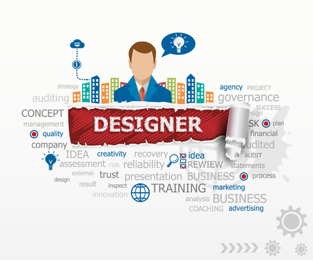 webdesigner: Designer concept and business man. Designer design illustration concepts for business, consulting, finance, management, career.