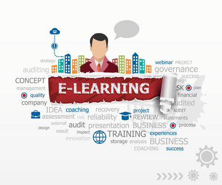 Word Cloud E-Learning and business man. E-Learning design illustration concepts for business, consulting, finance, management, career.