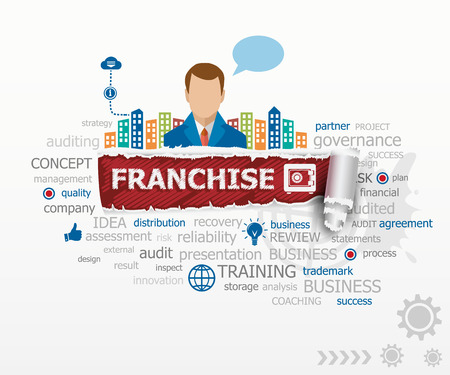 Franchise word cloud concept and business man. Franchise design illustration concepts for business, consulting, finance, management, career.