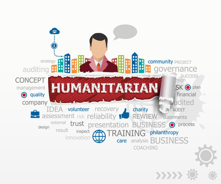 humanitarian: Humanitarian concept word cloud and business man. Humanitarian design illustration concepts for business, consulting, finance, management, career.