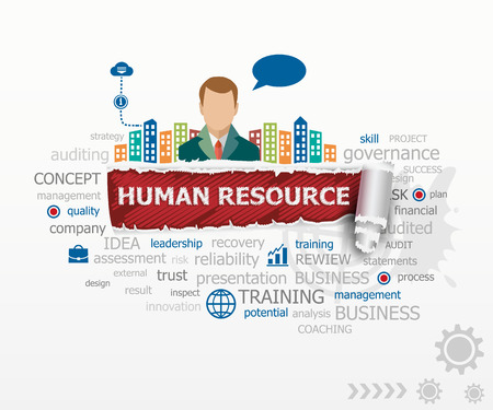 Human resource concept word cloud and business man. Human resource design illustration concepts for business, consulting, finance, management, career.