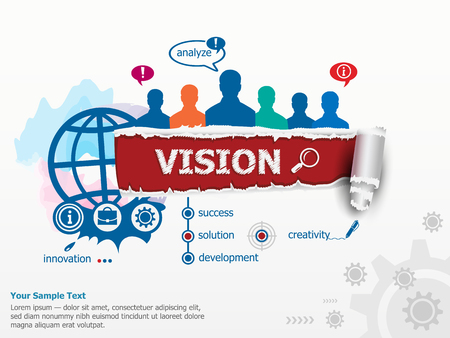 Vision concept and group of people. Set of flat design illustration concepts for business, consulting, finance, management, career, human resources.