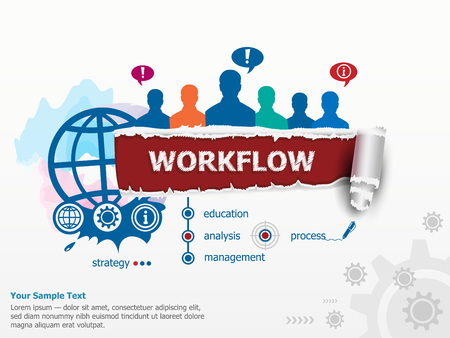 Workflow concept and group of people. Set of flat design illustration concepts for business, consulting, finance, management, career, human resources.