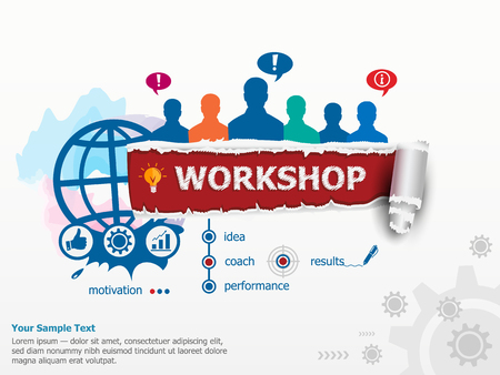 Workshop concept and group of people. Set of flat design illustration concepts for business, consulting, finance, management, career, human resources.