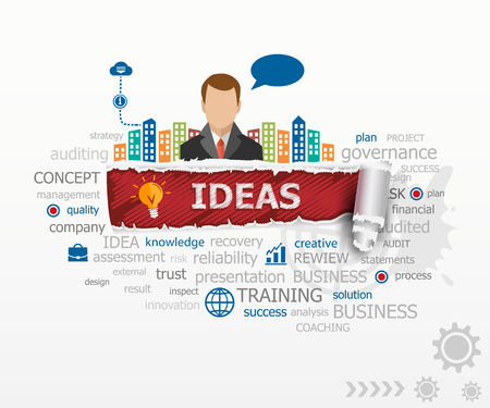 Ideas - innovation concept word cloud and business man. Ideas design illustration concepts for business, consulting, finance, management, career.