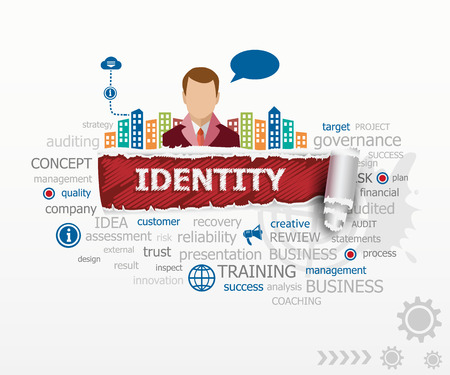 Identity concept word cloud and business man. Identity design illustration concepts for business, consulting, finance, management, career.