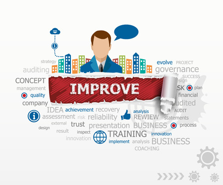 Improve concept word cloud and business man. Improve design illustration concepts for business, consulting, finance, management, career.