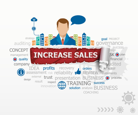 increase sales: Increase sales concept word cloud and business man. Increase sales design illustration concepts for business, consulting, finance, management, career.