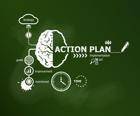 Action Plan concept. Hand writing Action plan with chalk on green school board Иллюстрация