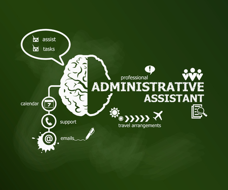 Administrative assistant business concept. Hand writing Administrative assistant with chalk on green school board