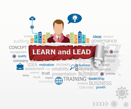 Learn and Lead concept and business man. Learn and Lead design illustration concepts for business, consulting, finance, management, career.