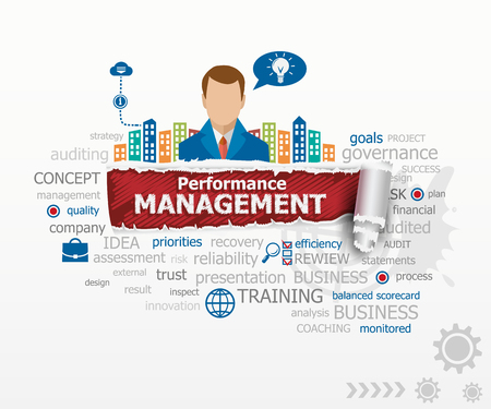 Performance management concept and business man. Performance management design illustration concepts for business, consulting, finance, management, career.