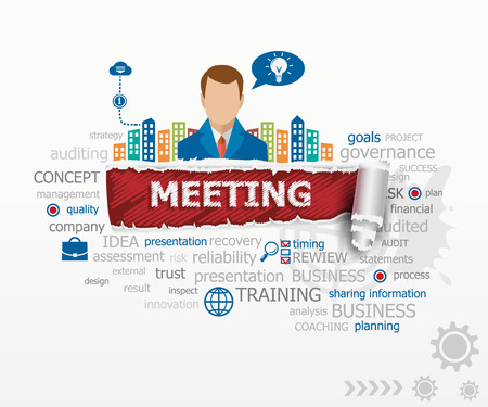 Business meeting concept word cloud and business man. Business meeting design illustration concepts for business, consulting, finance, management, career.