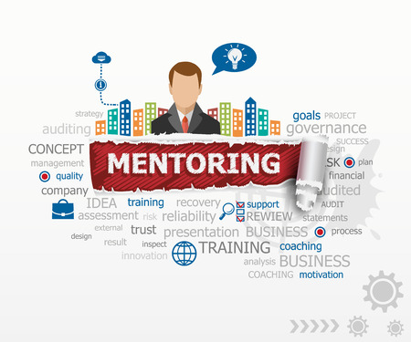 Mentoring concept and business man. Mentoring design illustration concepts for business, consulting, finance, management, career.