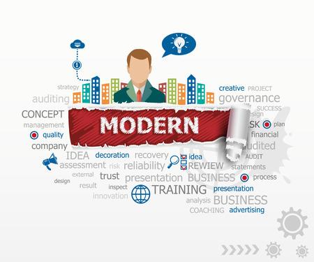 Modern design concept and business man. Modern design illustration concepts for business, consulting, finance, management, career. Иллюстрация