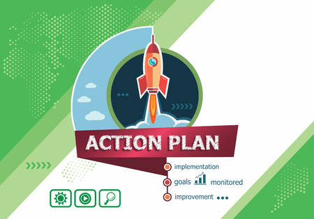 Action plan concepts for business analysis, planning, consulting, team work, project management. Action plan concept on background with rocket.