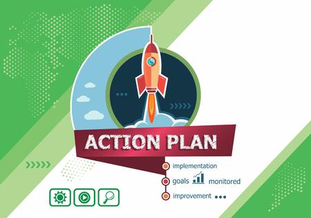 plan de accion: conceptos del plan de acci�n para el an�lisis de negocio, planificaci�n, consultor�a, trabajo en equipo, gesti�n de proyectos. Acci�n concepto de plan en el fondo con el cohete.