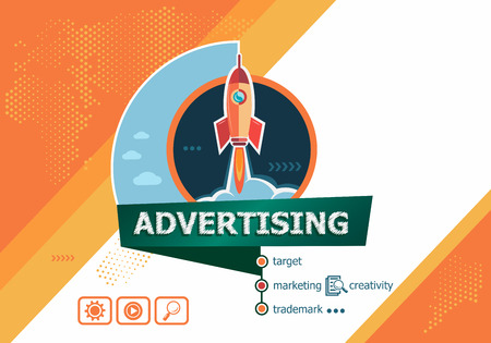 Advertising concepts for business analysis, planning, consulting, team work, project management. Advertising concept on background with rocket. Иллюстрация