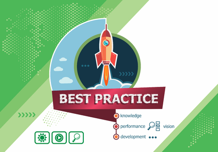 Best practice concepts for business analysis, planning, consulting, team work, project management. Best practice concept on background with rocket.