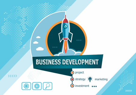 Business Development  concepts for business analysis, planning, consulting, team work, project management. Business Development concept on background with rocket.