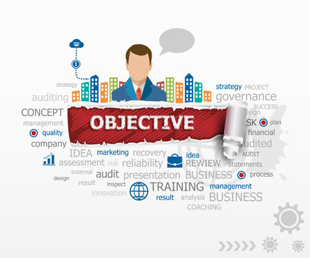 Objective concept and business man. Objective design illustration concepts for business, consulting, finance, management, career. Иллюстрация