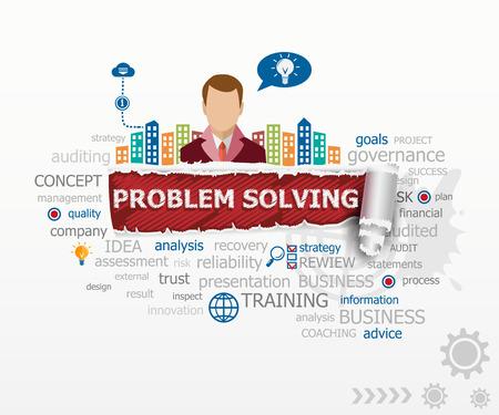 Problem-solving concept and business man. Problem-solving design illustration concepts for business, consulting, finance, management, career.