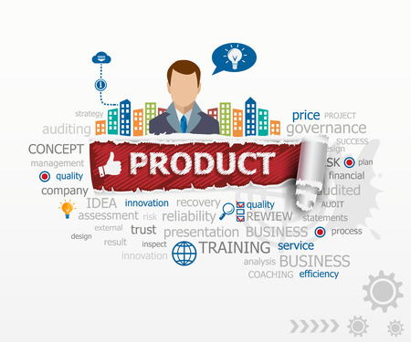Product concept and business man. Product design illustration concepts for business, consulting, finance, management, career.