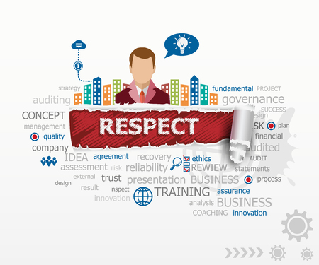 Respect concept word cloud and business man. Respect design illustration concepts for business, consulting, finance, management, career. Иллюстрация