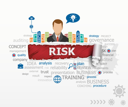 Risk concept and business man. Risk design illustration concepts for business, consulting, finance, management, career.