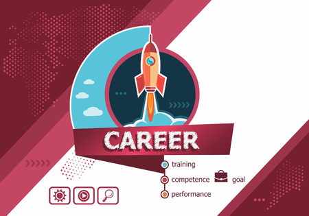 Career concepts for business analysis, planning, consulting, team work, project management. Career concept on background with rocket. Иллюстрация