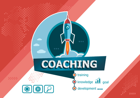 Coaching design concepts for business analysis, planning, consulting, team work, project management. Coaching concept on background with rocket.