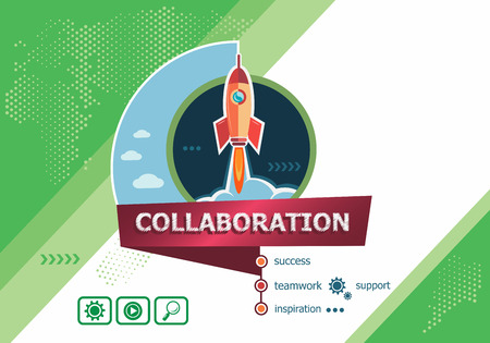 Collaboration concepts for business analysis, planning, consulting, team work, project management. Collaboration concept on background with rocket.