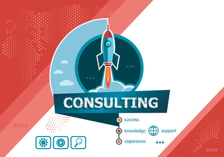 Consulting design concepts for business analysis, planning, consulting, team work, project management. Consulting concept on background with rocket. Иллюстрация
