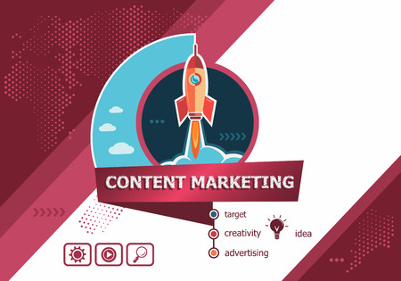 Content marketing design concepts for business analysis, planning, consulting, team work, project management. Content marketing concept on background with rocket. Иллюстрация