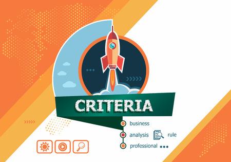 edicto: Criterios de regulación generalidad conceptos de marketing de negocios para el análisis de negocio, planificación, trabajo en equipo, gestión de proyectos. Criterios concepto en el fondo con el cohete. Vectores