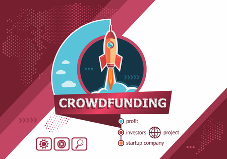 Crowdfunding concepts for business analysis, planning, consulting, team work, project management. Crowdfunding concept on background with rocket. Иллюстрация