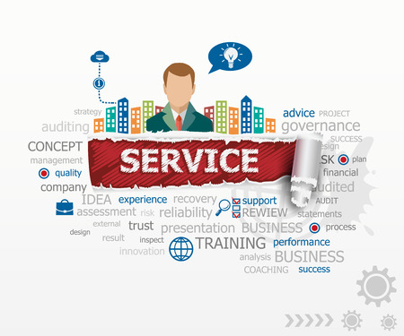 Service concept and business man. Service design illustration concepts for business, consulting, finance, management, career.